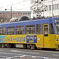 岡山電気軌道 8100形 8101 もと3000形(東武日光軌道線100形)  広告塗装