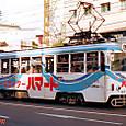 土佐電気鉄道 軌道線 600形 611 直接制御車 広告塗装 1992年12月撮影